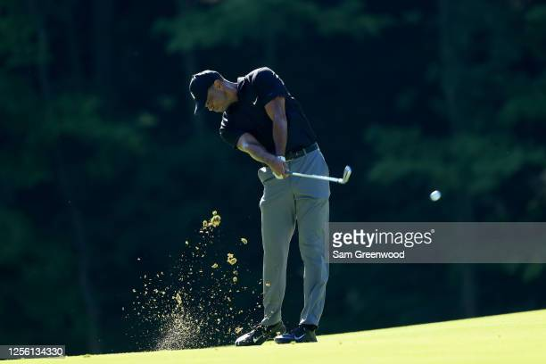 Tiger Woods plays a shot during a practice round prior to The Memorial Tournament at Muirfield Village Golf Club on July 14 2020 in Dublin Ohio
