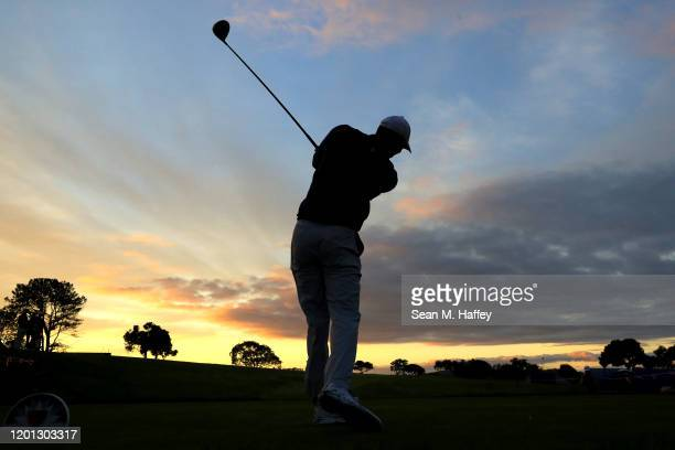 Tiger Woods plays a shot during the Pro-Am for the 2020 Farmers Insurance Open at Torrey Pines Golf Course on January 22, 2020 in San Diego,...