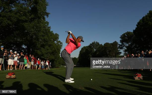 Tiger Woods plays a shot during the Pro-Am for the Wells Fargo Championship at Quail Hollow Club on May 2, 2018 in Charlotte, North Carolina.