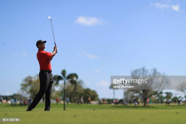 Tiger Woods plays a shot on the first hole during the final round of the Honda Classic at PGA National Resort and Spa on February 25, 2018 in Palm...