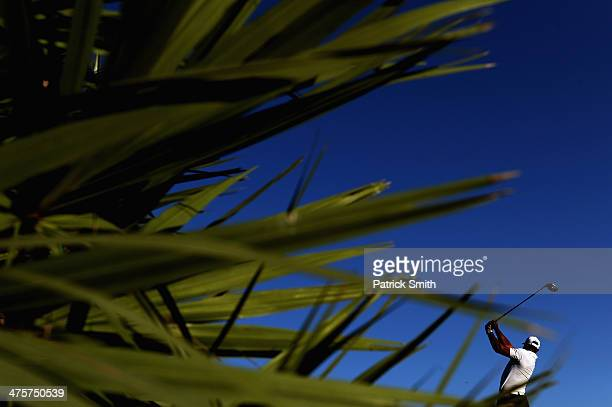 Tiger Woods plays a shot on the second hole during the third round of The Honda Classic at PGA National Resort and Spa on March 1 2014 in Palm Beach...