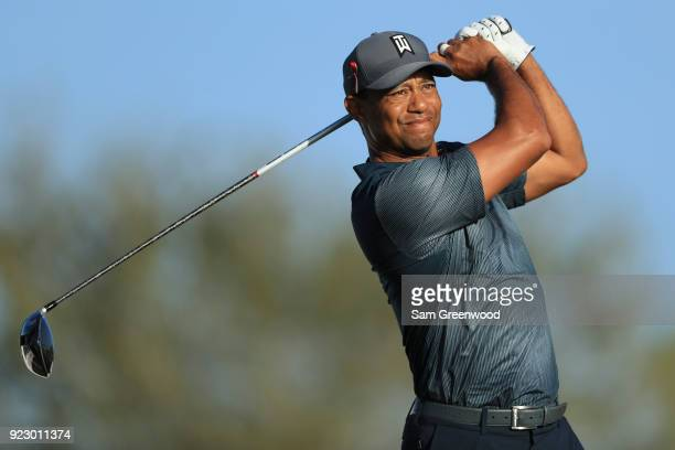 Tiger Woods plays a tee shot at 14th hole during the first round of the Honda Classic at PGA National Resort and Spa on February 22 2018 in Palm...