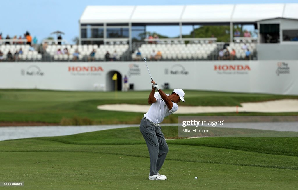 Tiger Woods plays during a pro-am for the Honda Classic on February 21, 2018 in Palm Beach Gardens, Florida.