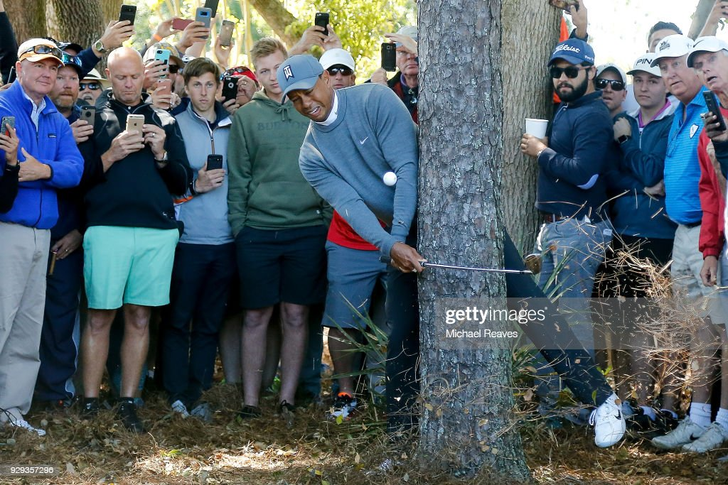 Tiger Woods plays his second shot on the fourth hole during the first round of the Valspar Championship at Innisbrook Resort Copperhead Course on March 8, 2018 in Palm Harbor, Florida.