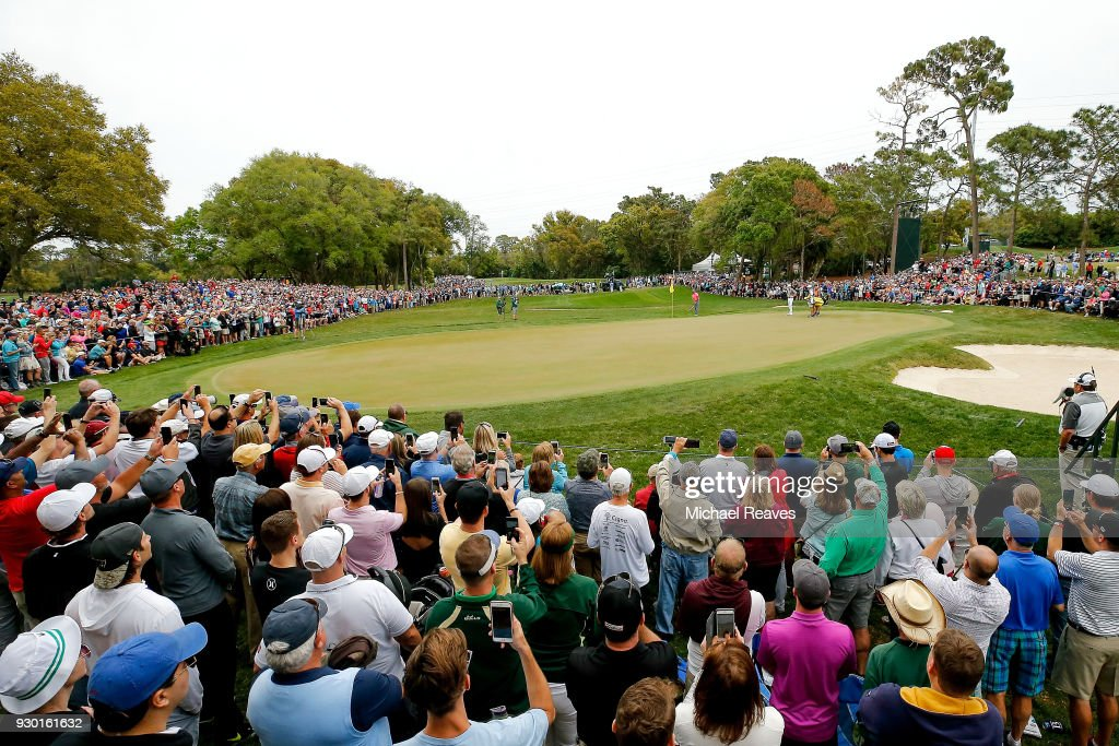 Tiger Woods plays his second shot on the fourth hole during the third round of the Valspar Championship at Innisbrook Resort Copperhead Course on March 10, 2018 in Palm Harbor, Florida.