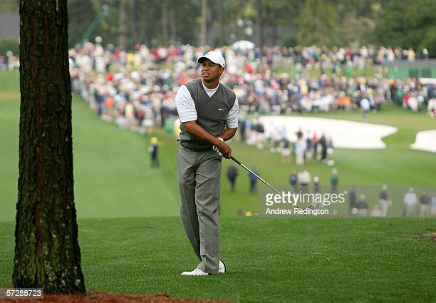 Tiger Woods plays his second shot to the first hole during the third round of The Masters at the Augusta National Golf Club on April 8 2006 in...