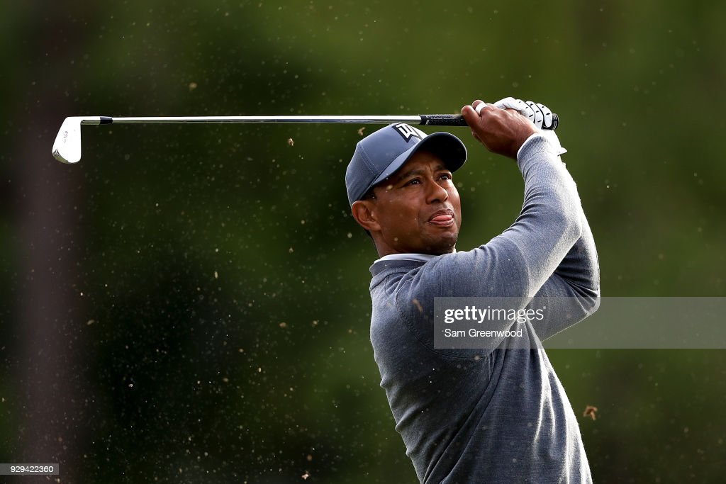 Tiger Woods plays his shot from the 17th tee during the first round of the Valspar Championship at Innisbrook Resort Copperhead Course on March 8, 2018 in Palm Harbor, Florida.