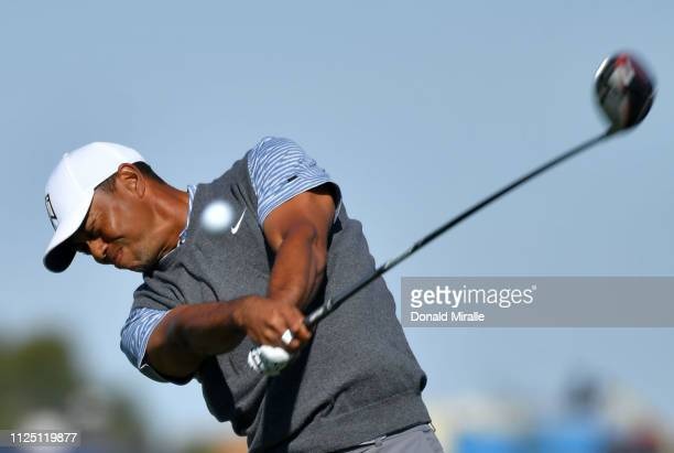 Tiger Woods plays his shot from the fifth tee on the South Course during the third round of the the 2019 Farmers Insurance Open at Torrey Pines Golf...