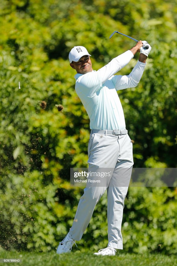 Tiger Woods plays his shot from the seventh tee during the second round of the Valspar Championship at Innisbrook Resort Copperhead Course on March 9, 2018 in Palm Harbor, Florida.