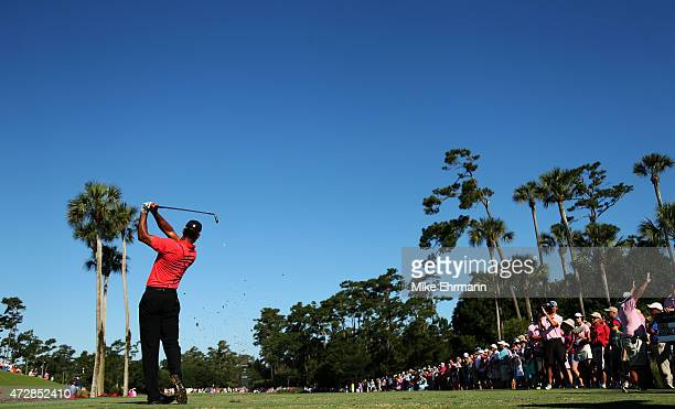 Tiger Woods plays his shot from the third tee during the final round of THE PLAYERS Championship at the TPC Sawgrass Stadium course on May 10, 2015...