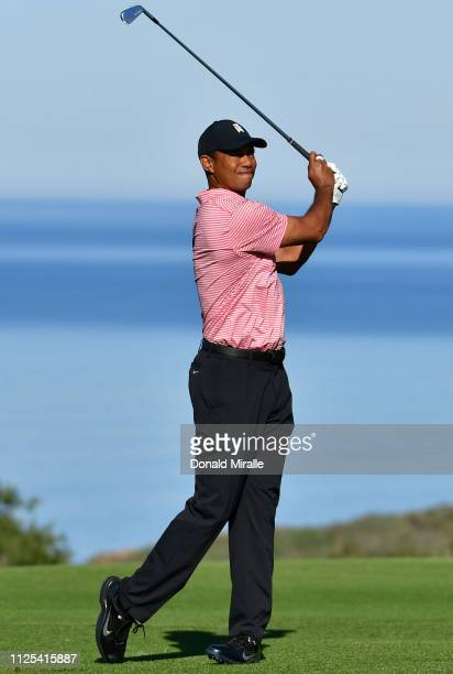 Tiger Woods plays his shot on the 13th hole on the South Course during the final round of the the 2019 Farmers Insurance Open at Torrey Pines Golf...