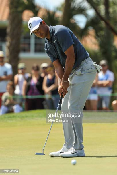 Tiger Woods plays his shot on the second green during the third round of the Honda Classic at PGA National Resort and Spa on February 24, 2018 in...
