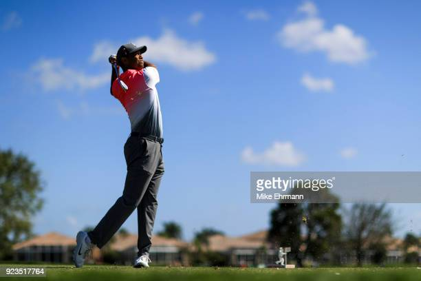 Tiger Woods plays his tee shot on the fifth hole during the second round of the Honda Classic at PGA National Resort and Spa on February 23 2018 in...