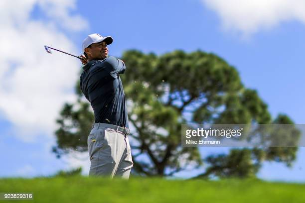 Tiger Woods plays his tee shot on the fourth hole during the third round of the Honda Classic at PGA National Resort and Spa on February 24 2018 in...
