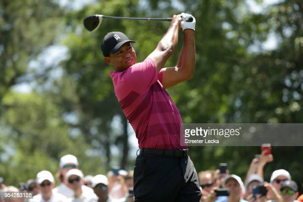 Tiger Woods plays his tee shot on the third hole during the first round of the 2018 Wells Fargo Championship at Quail Hollow Club on May 3 2018 in...