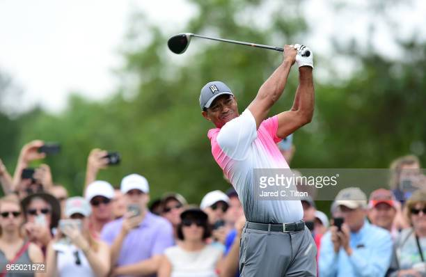 Tiger Woods plays his tee shot on the third hole during the third round of the 2018 Wells Fargo Championship at Quail Hollow Club on May 5 2018 in...