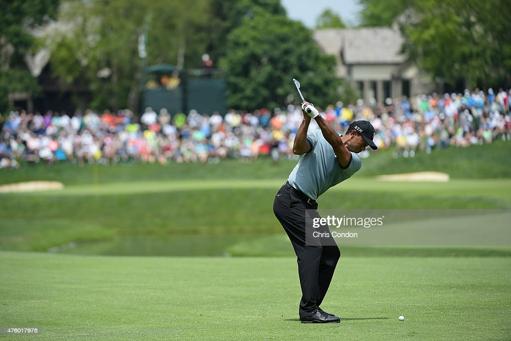 Tiger Woods plays his third shot on the 5th hole during the second round of the Memorial Tournament presented by Nationwide at Muirfield Village Golf Club on June 5, 2015 in Dublin, Ohio.