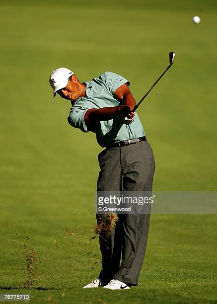 Tiger Woods plays the 16th hole during the third round of the TOUR Championship the final event of the new PGA TOUR Playoffs for the FedExCup at East...
