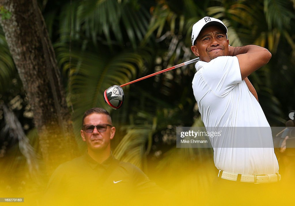 Tiger Woods plays the golf course during a practice round for the WGC-Cadillac Championship at the Trump Doral Golf Resort & Spa on March 6, 2013 in Miami, Florida.