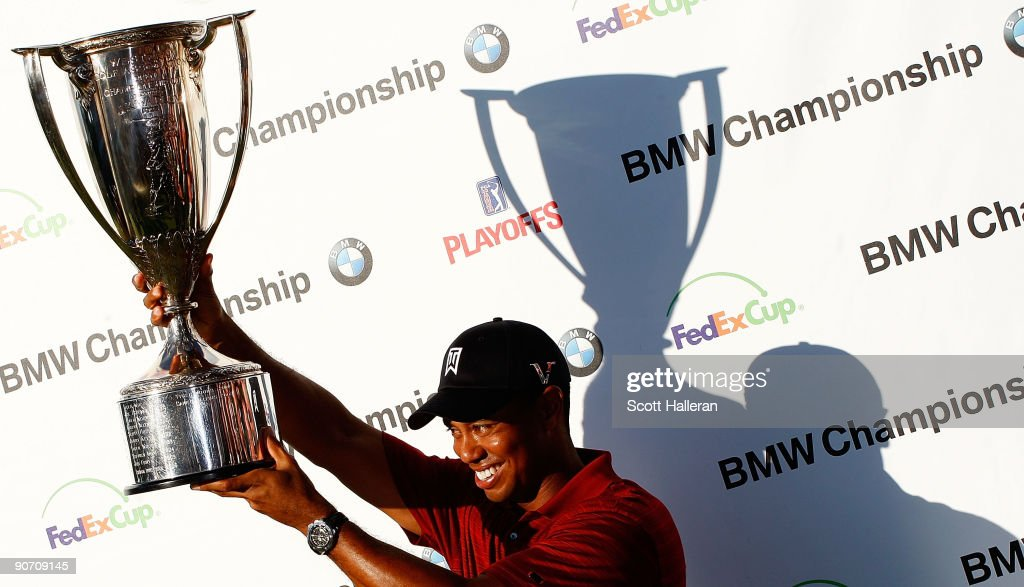 Tiger Woods poses with the J.K. Wadley trophy after his eight-stroke victory at the BMW Championship held at Cog Hill Golf & CC on September 13, 2009 in Lemont, Illinois.