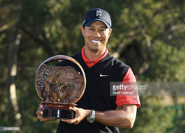 Tiger Woods poses with the trophy after winning the Chevron World Challenge at Sherwood Country Club on December 4, 2011 in Thousand Oaks, California.