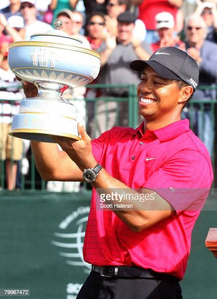 Tiger Woods poses with the Walter Hagen Cup after winning the WGCAccenture Match Play Championship at The Gallery at Dove Mountain on February 24...