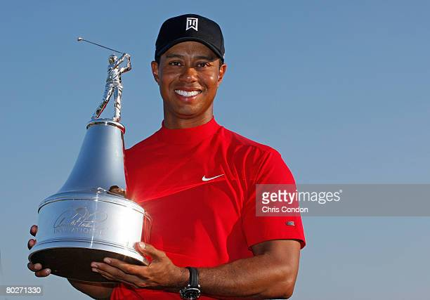 Tiger Woods poses with the winners trophy after his victory in the Arnold Palmer Invitational presented by MasterCard held on March 16, 2008 at Bay...