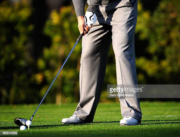 Tiger Woods practices golf outside his home on February 18, 2010 in Windermere, Florida. Woods will make a statement at the PGA Tour headquarters...