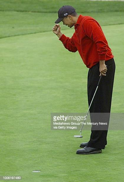Tiger Woods pumps his arm after finishing the 18th hole at Pebble Beach where he won the ATT Pebble Beach Pro Am
