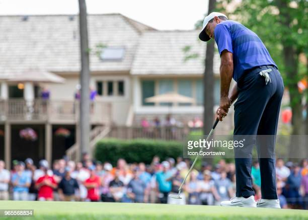 Tiger Woods putts during the second round of the Memorial Tournament at Muirfield Village Golf Club in Dublin Ohio on June 01 2018