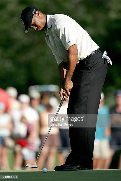 Tiger Woods putts on the 7th hole during the second round of the Buick Open on August 4 2006 at Warwick Hills Golf Country Club in Grand Blanc...