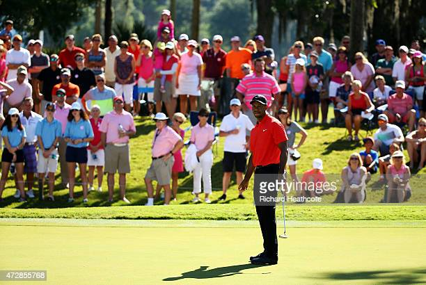 Tiger Woods putts on the fifth green during the final round of THE PLAYERS Championship at the TPC Sawgrass Stadium course on May 10 2015 in Ponte...