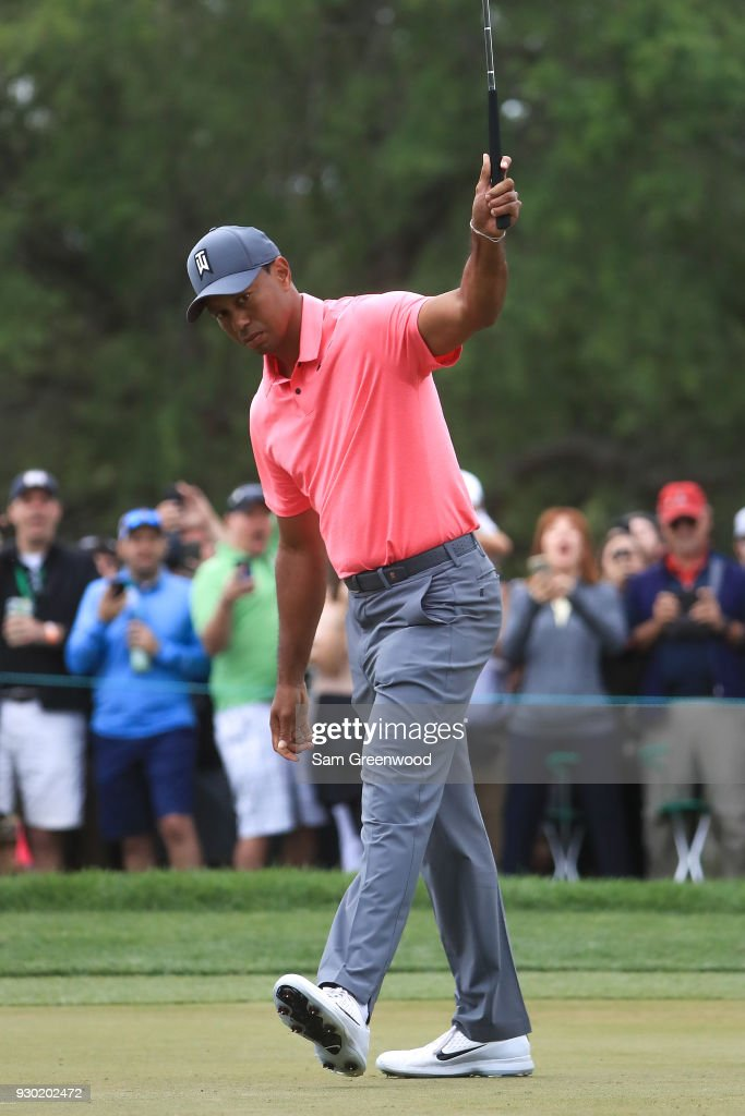 Tiger Woods reacts after a birdie putt on the tenth hole during the third round of the Valspar Championship at Innisbrook Resort Copperhead Course on March 10, 2018 in Palm Harbor, Florida.