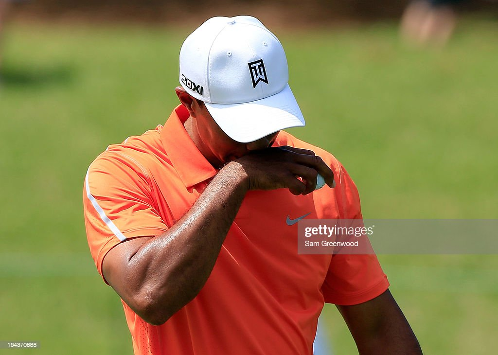 Tiger Woods reacts after a missed birdie attempt on the 2nd hole during the second round of the Arnold Palmer Invitational presented by MasterCard at the Bay Hill Club and Lodge on March 22, 2013 in Orlando, Florida.
