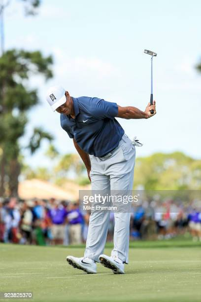 Tiger Woods reacts after a putt on the third green during the third round of the Honda Classic at PGA National Resort and Spa on February 24, 2018 in...
