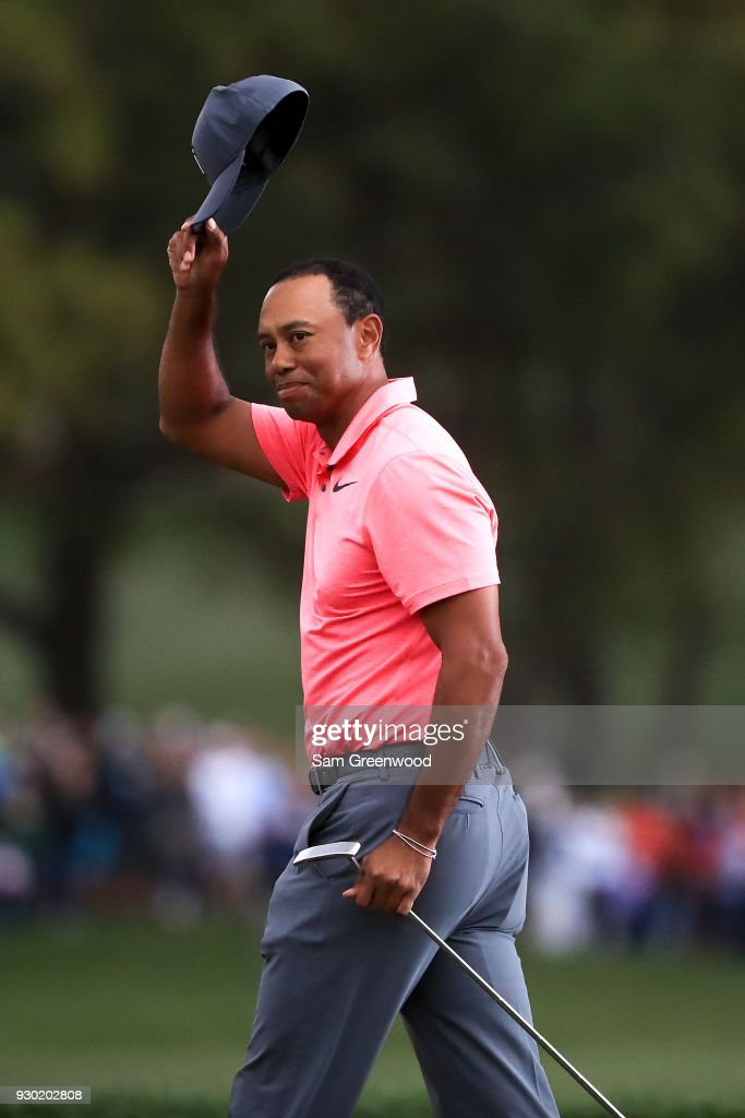 Tiger Woods reacts after finishing his third round of the Valspar Championship at Innisbrook Resort Copperhead Course on March 10, 2018 in Palm Harbor, Florida.