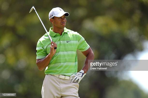 Tiger Woods reacts after his second shot on the second hole during the second round of the AT&T National at Aronimink Golf Club on July 2, 2010 in...