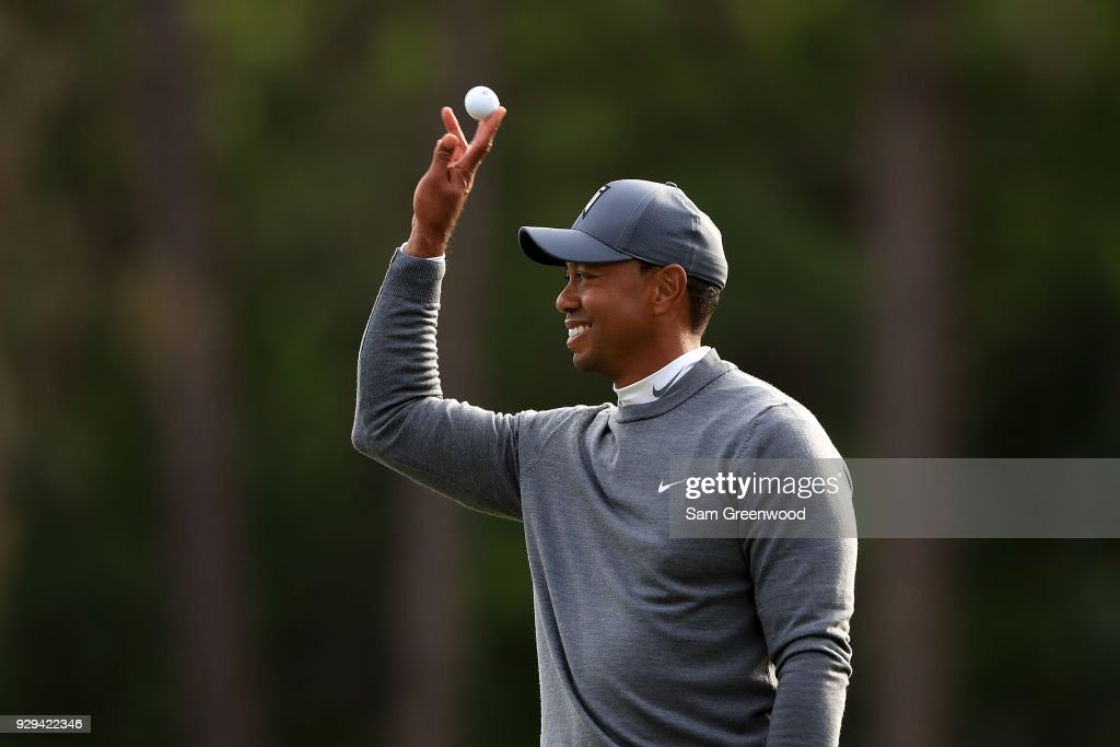 Tiger Woods reacts after playing his shot plays rom the 17th tee during the first round of the Valspar Championship at Innisbrook Resort Copperhead Course on March 8, 2018 in Palm Harbor, Florida.