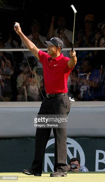 Tiger Woods reacts after winning the 2009 Buick Open at Warwick Hills Golf and Country Club on August 2 2009 in Grand Blanc Michigan