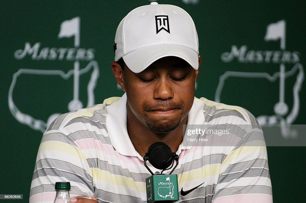 Tiger Woods reacts as he addresses members of the media during a press conference prior to the 2010 Masters Tournament at Augusta National Golf Club on April 5, 2010 in Augusta, Georgia.