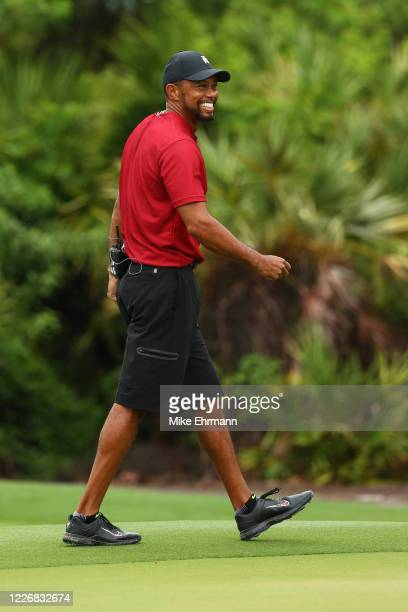 Tiger Woods reacts during The Match Champions For Charity at Medalist Golf Club on May 24 2020 in Hobe Sound Florida