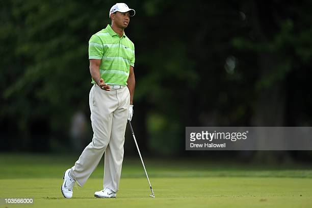 Tiger Woods reacts during the second round of the AT&T National at Aronimink Golf Club on July 2, 2010 in Newtown Square, Pennsylvania.