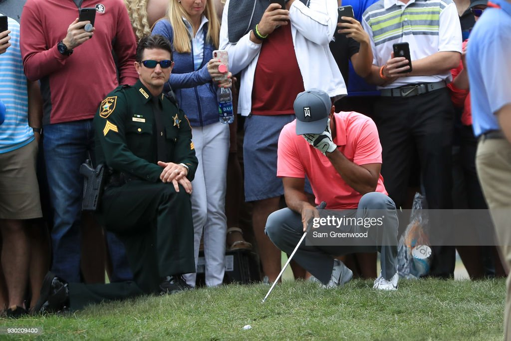 Tiger Woods reacts on the sixth hole during the third round of the Valspar Championship at Innisbrook Resort Copperhead Course on March 10, 2018 in Palm Harbor, Florida.