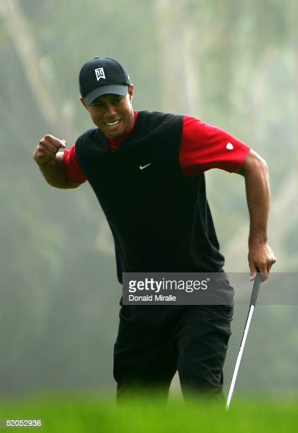 Tiger Woods reacts to a birdie putt on the 6th hole en route to his victory in the final round of the Buick Invitational on January 23 2005 at Torrey...