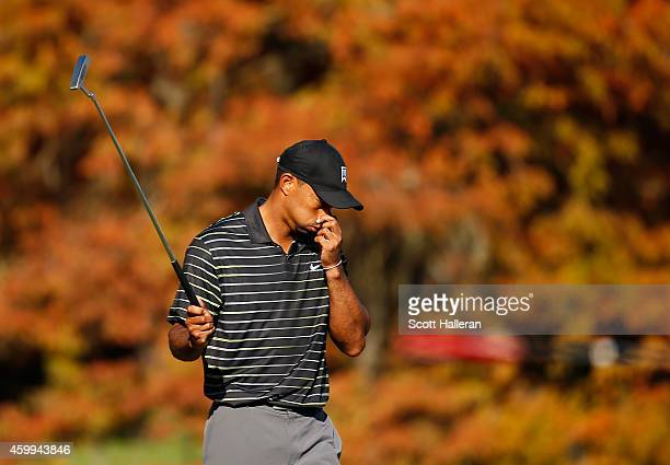 Tiger Woods reacts to a missed birdie putt on the 11th green during the first round of the Hero World Challenge at the Isleworth Golf & Country Club...