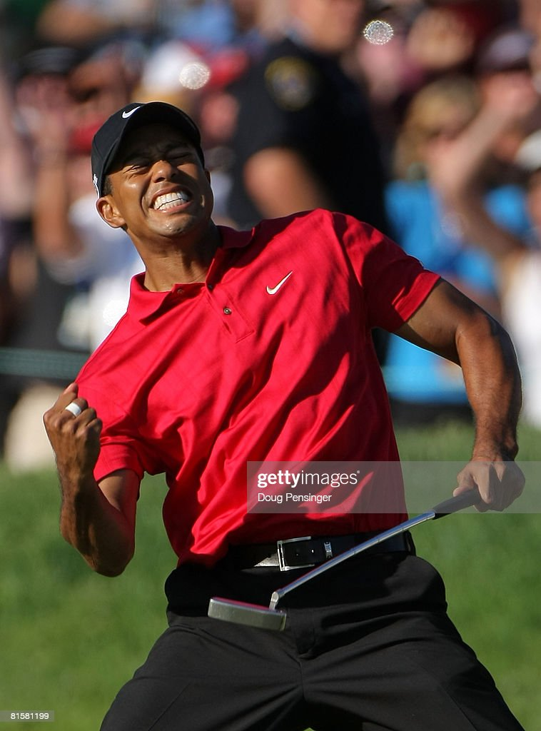 Tiger Woods reacts to his birdie putt on the 18th green to force a playoff with Rocco Mediate during the final round of the 108th U.S. Open at the Torrey Pines Golf Course (South Course) on June 15, 2008 in San Diego, California.