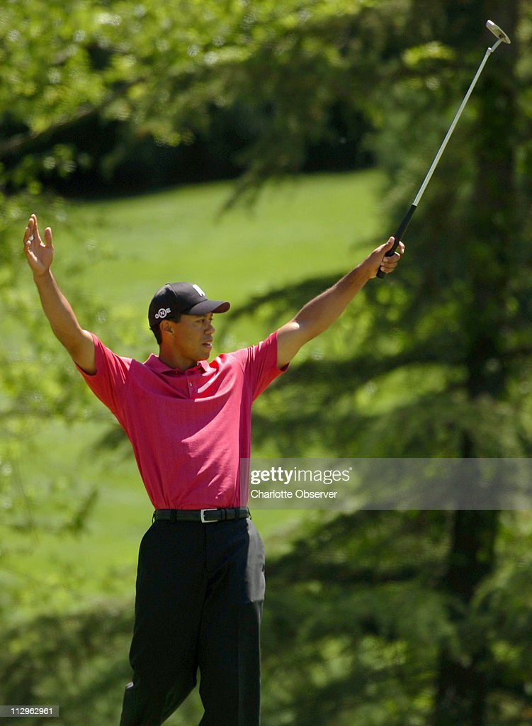 Tiger Woods reacts to his eagle shot on the seventh hole dur : News Photo