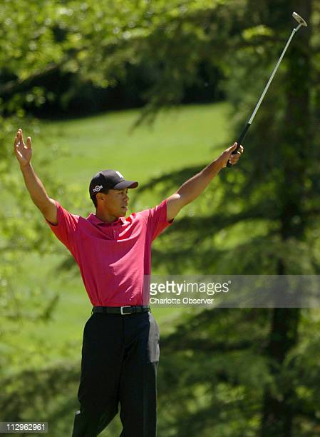 Tiger Woods reacts to his eagle shot on the seventh hole during the final round of the Wachovia Championship at Quail Hollow Club in Charlotte, North...