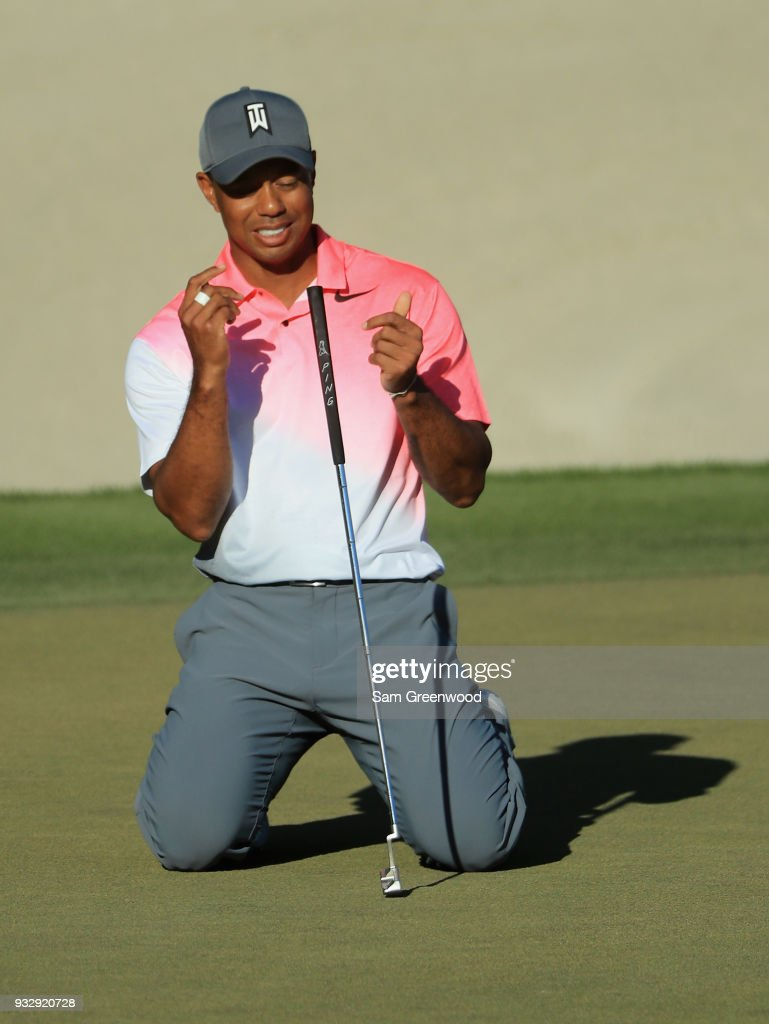 Tiger Woods reacts to his missed birdie putt on the 18th hole during the second round at the Arnold Palmer Invitational Presented By MasterCard at Bay Hill Club and Lodge on March 16, 2018 in Orlando, Florida.