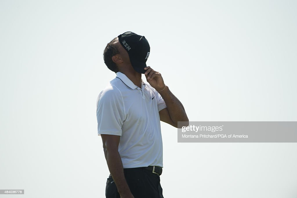 Tiger Woods reacts to his previous hit on the sixteenth hole during Round Two at the 97th PGA Championship at Whistling Straits on August 14, 2015 in Sheboygan, WI.